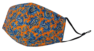 BLUE PAISLEY ON ORANGE face mask