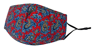 BLUE PAISLEY ON RED face mask