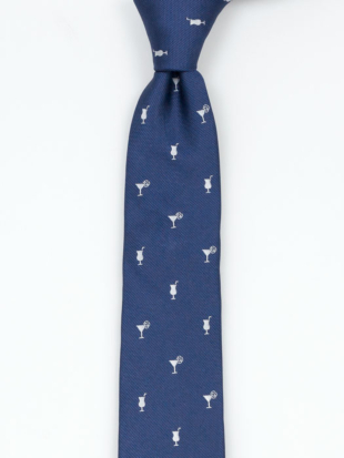 COCKTAILOR Blue skinny tie