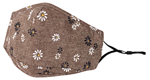 FLOWERS ON BROWN face mask
