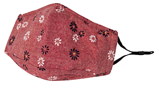 FLOWERS ON RED face mask