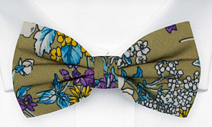 NOSEGAY Olive green bow tie
