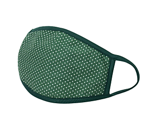 WHITE DOTS ON GREEN face mask
