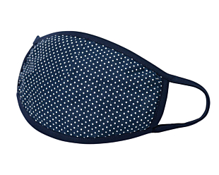 WHITE DOTS ON NAVY face mask