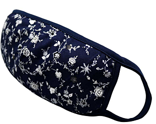 WHITE FLOWERS ON BLUE face mask