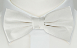 SOLID White pre-tied bow tie