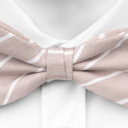 Notch Djingis bow tie - Thin, white stripes on sand coloured linen