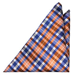 Notch Douglas handkerchief - checkered pattern in orange, blue & white
