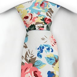 Notch Gaspard skinny cottom tie with flowers