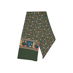 Giulio scarf Dark green och paisley in blue, brown & white