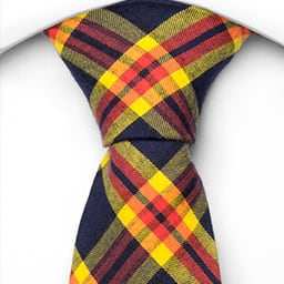 Notch Moritz necktie - Yellow, blue and red plaid with striped subpattern