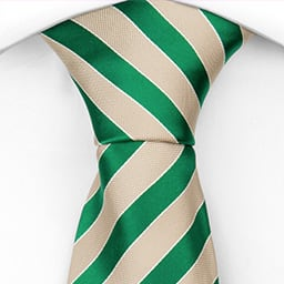 Notch Stefan necktie, Stripes in beige and intense green, white contours