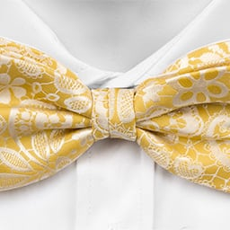 Notch Zlatan pre-tied bow tie - Light yellow base, white flowers and leaves